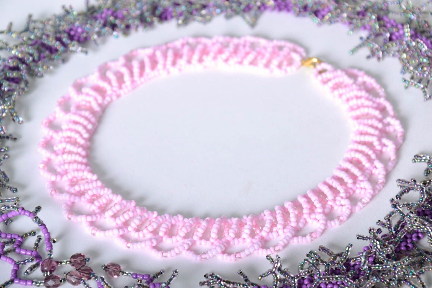 Beaded necklace Marshmallow photo 1