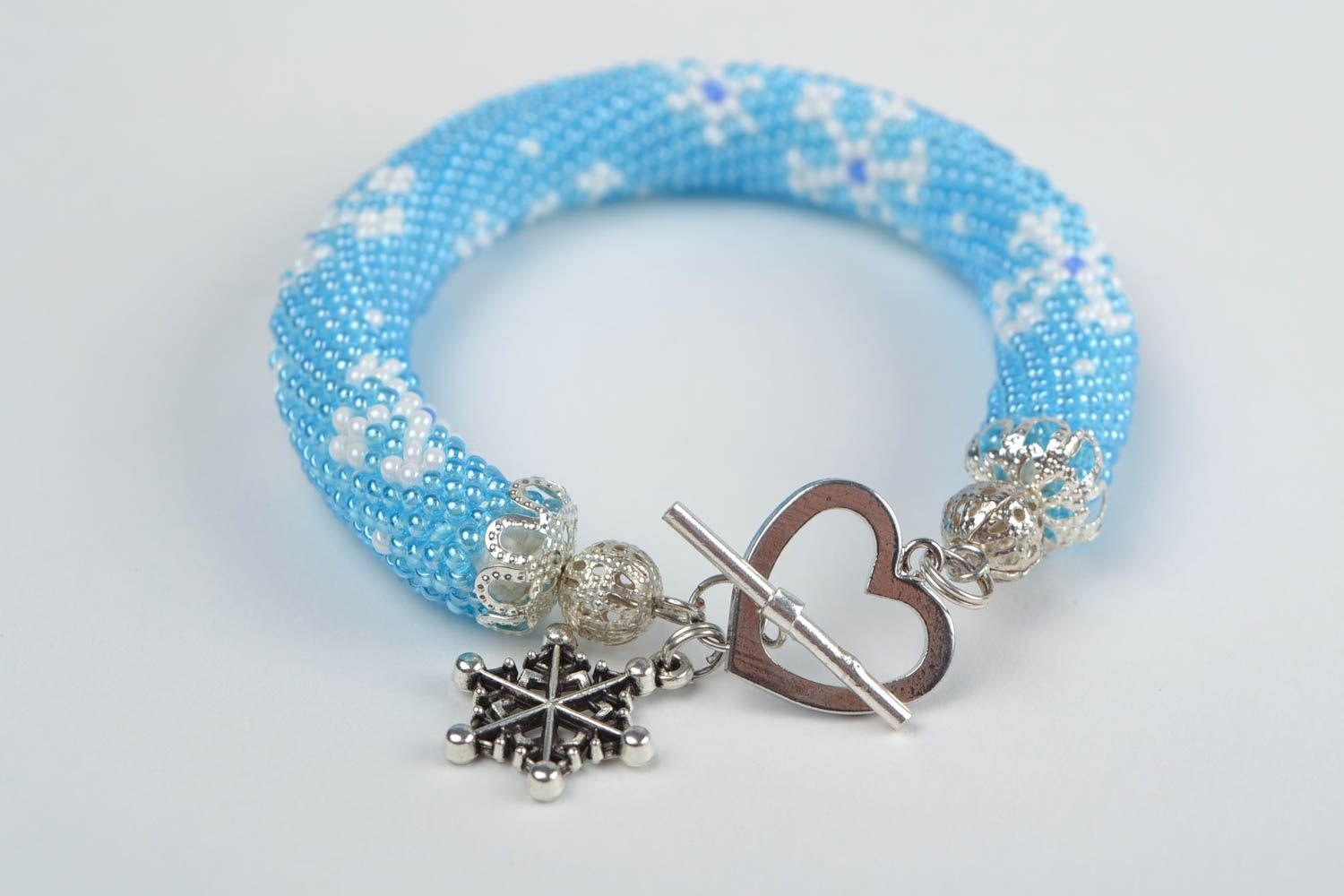 Beautiful handmade woven beaded cord bracelet of blue color with charm Snowflake photo 5