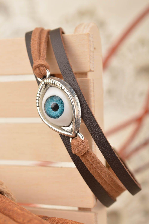 Dreireihiges Armband aus Wildleder mit Stein handmade originell eng unisex foto 1