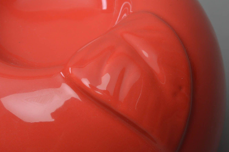 Unusual beautiful cute handmade red porcelain aroma lamp in shape of apple photo 3