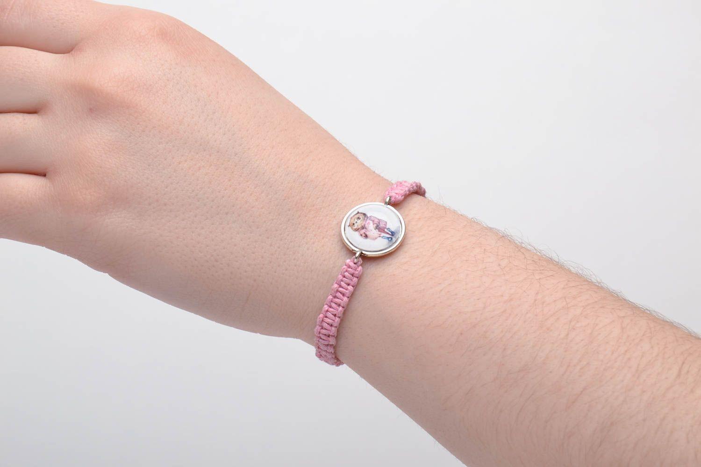 Pink woven bracelet photo 5