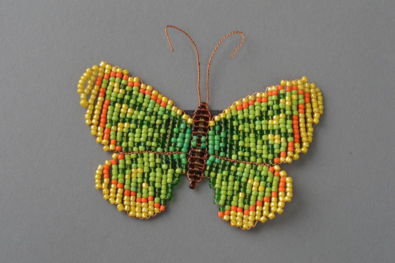 Handmade fridge magnet woven green butterfly made of beads photo 2