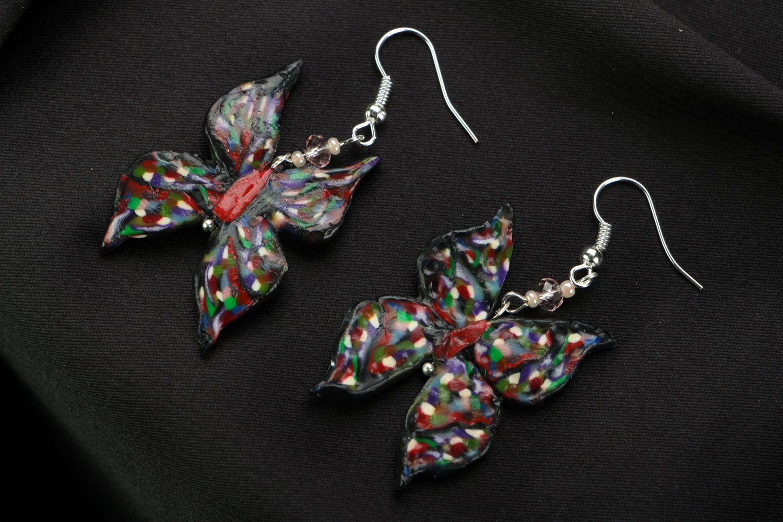 Polymer clay earrings Butterflies photo 1