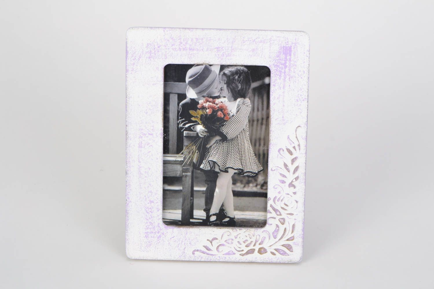 Unusual handmade light plywood photo frame with pattern photo 3