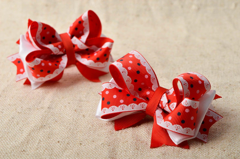 Handmade designer hair ties unusual bow hair ties 2 tender accessories for kids photo 1