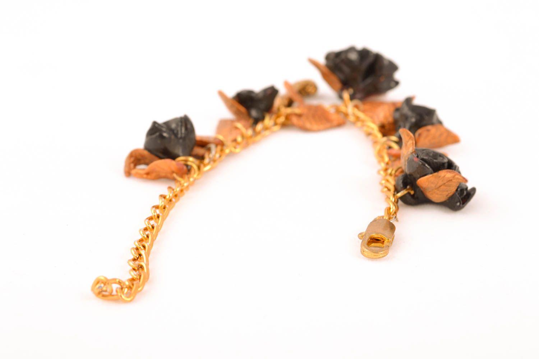 Damen Armband aus Polymerton Schwarze Rosen foto 2