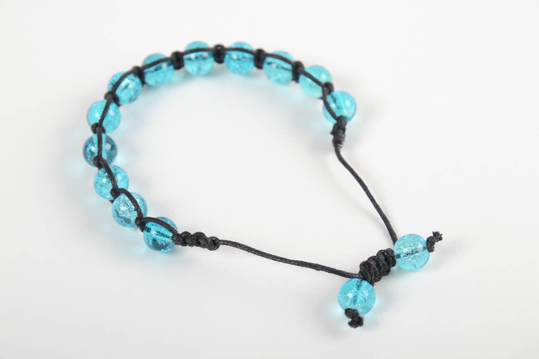 Handmade adjustable bracelet blue beaded accessory stylish wrist bracelet photo 4