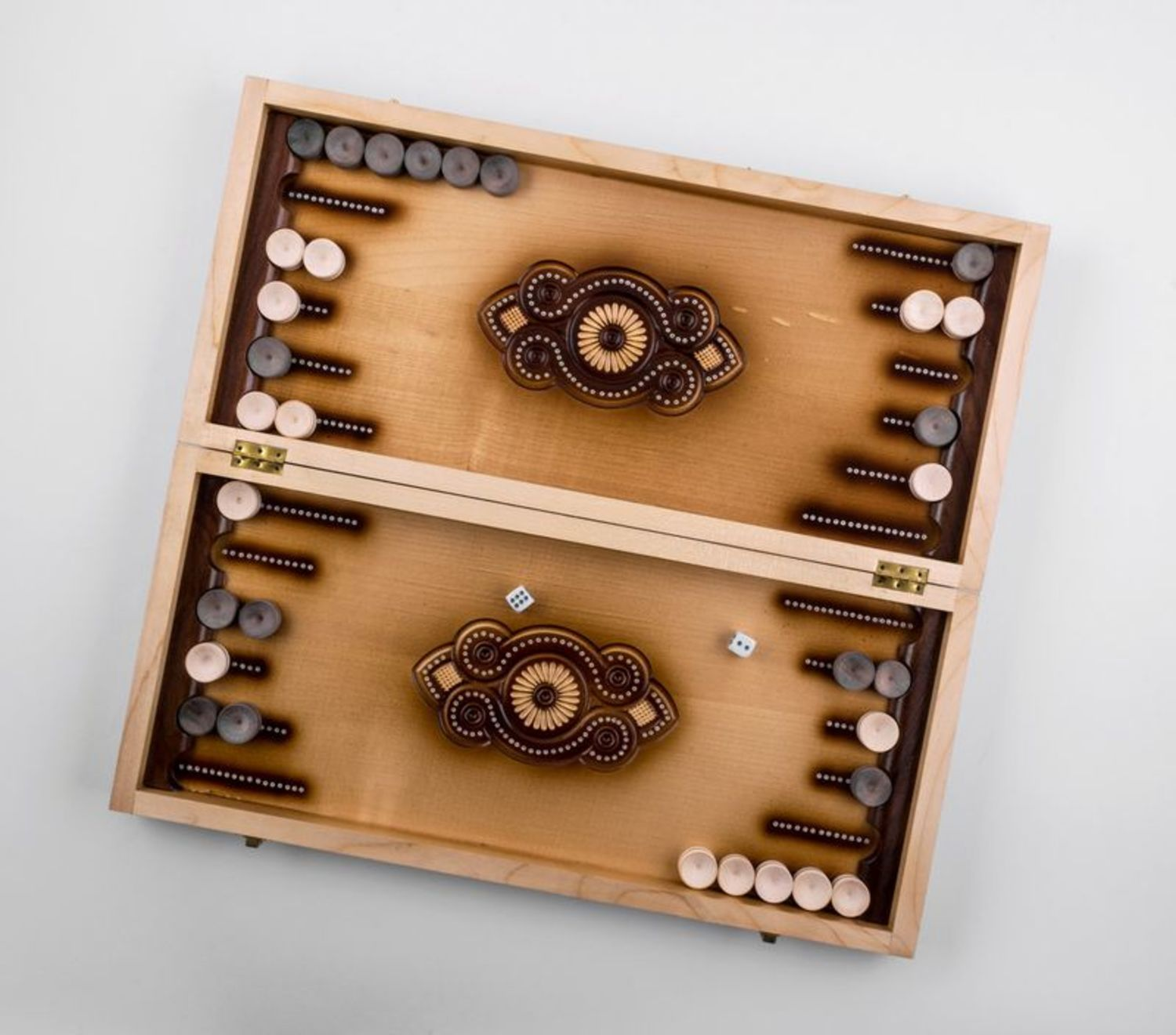 Wooden carved backgammon photo 5