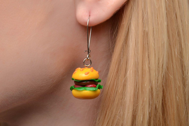 miniature earrings Polymer clay dangle earrings in the shape of hamburgers - MADEheart.com