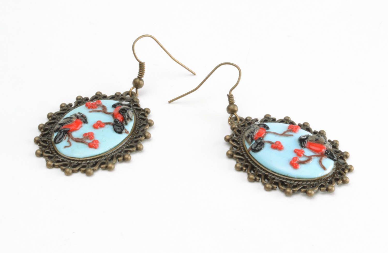 Polymer clay earrings Bullfinches photo 4