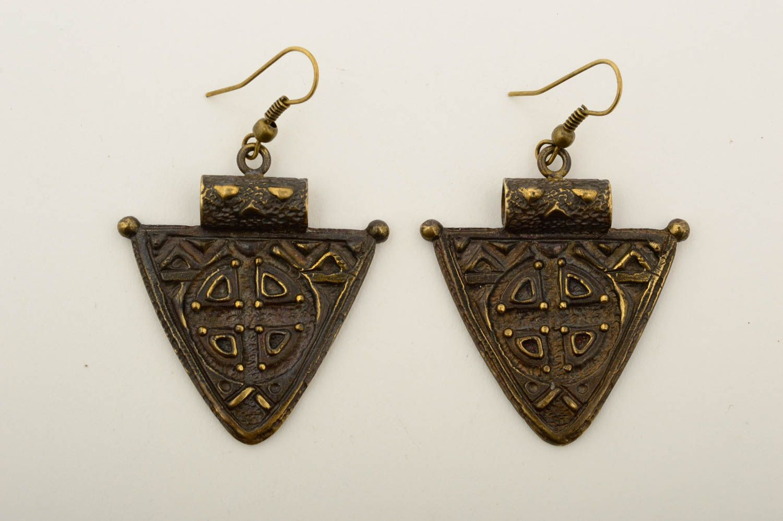 Beautiful handmade metal earrings stylish bronze earrings artisan jewelry photo 3