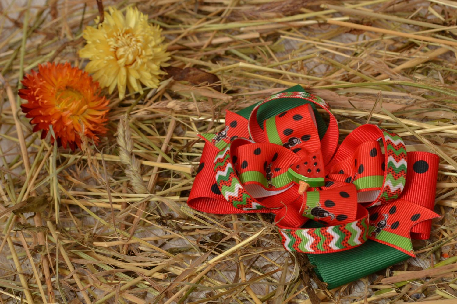 Bow hair clip Water-melon photo 5