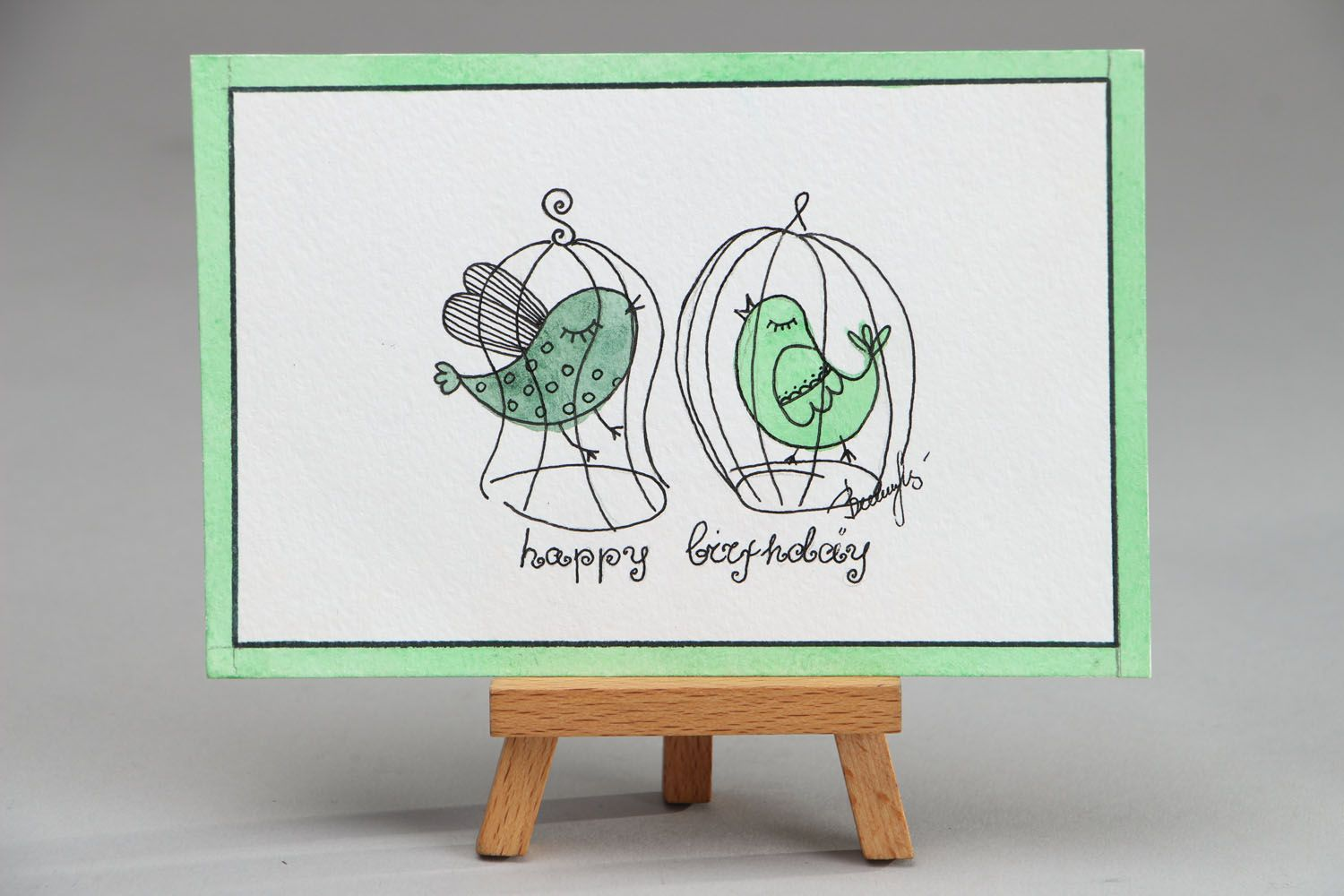 birthday Greeting card with gel pen drawing