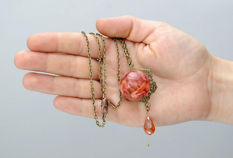 Pendant with petals of orange rose photo 5