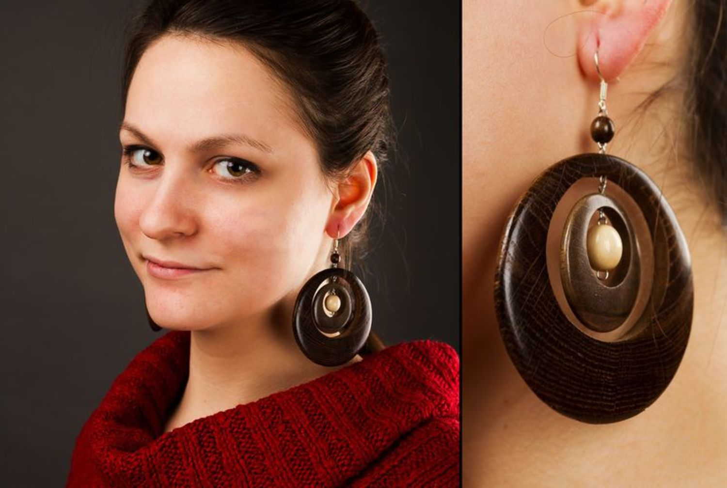 Round wood earrings photo 2