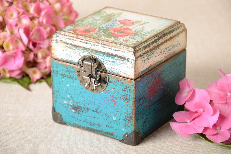 madeheart bo te bijoux fait main boite bois d coration maison serviettage carr e. Black Bedroom Furniture Sets. Home Design Ideas