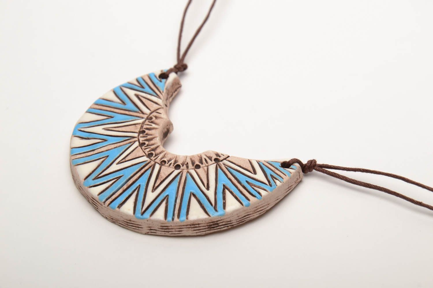 Ceramic pendant in ethnic style Half Moon photo 4