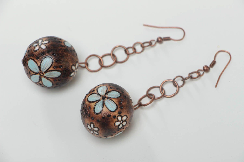 Handmade earrings wooden jewelry designer accessories ball earrings gift for her photo 2