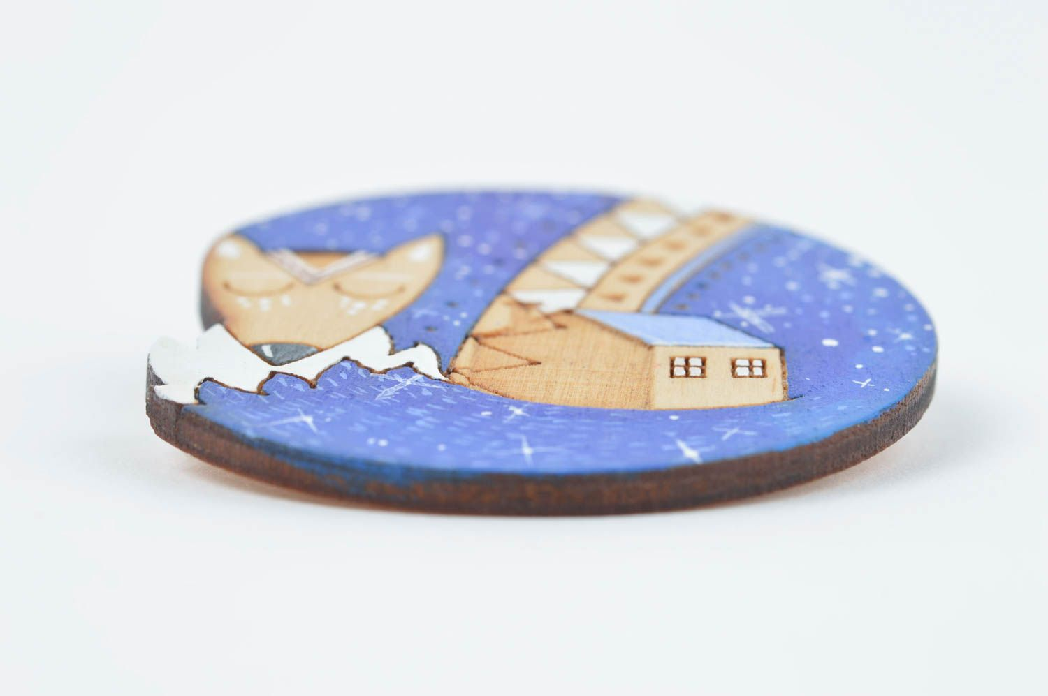 Unusual handmade wooden brooch pin wood craft artisan jewelry gifts for her photo 2