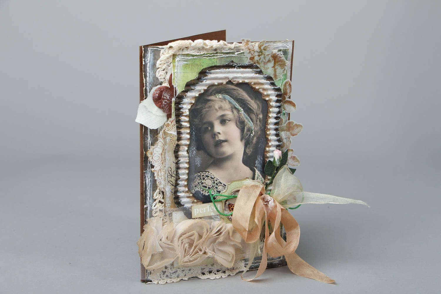 Scrapbooking greeting card in Shabby Chic style  photo 1