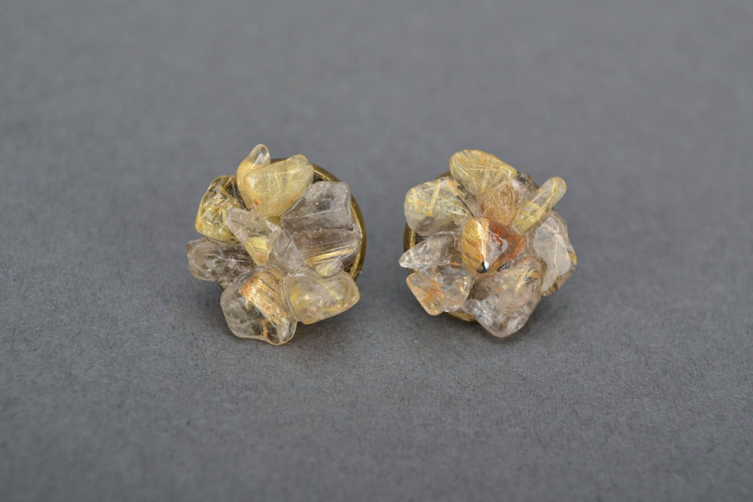 Earrings and ring with quartz photo 3