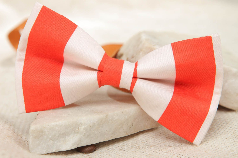 Галстук-бабочка из ткани красно-белый фото 5
