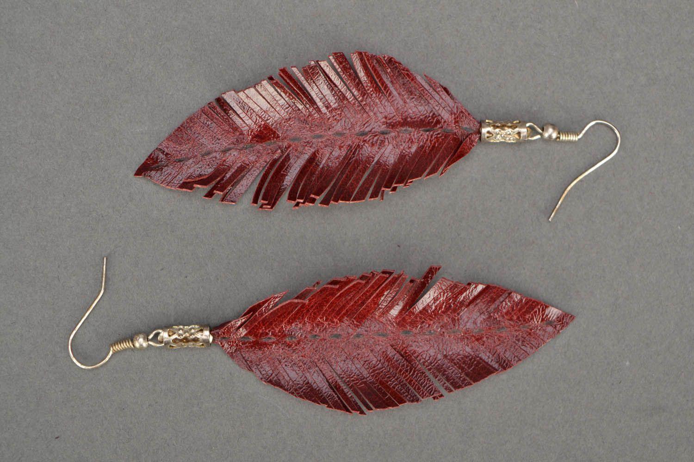 Leather leaf earrings  photo 3