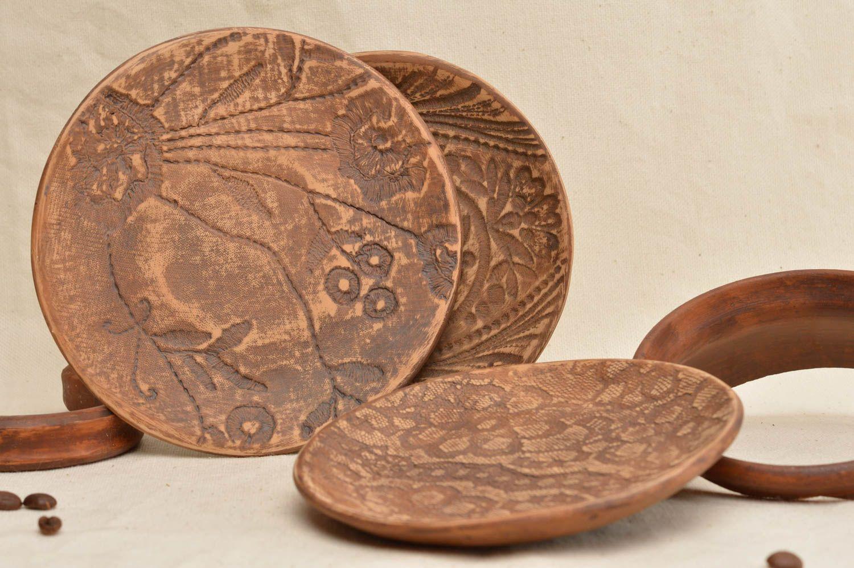 Madeheart conjunto de platos de arcilla roja menaje de for Arcilla para ceramica