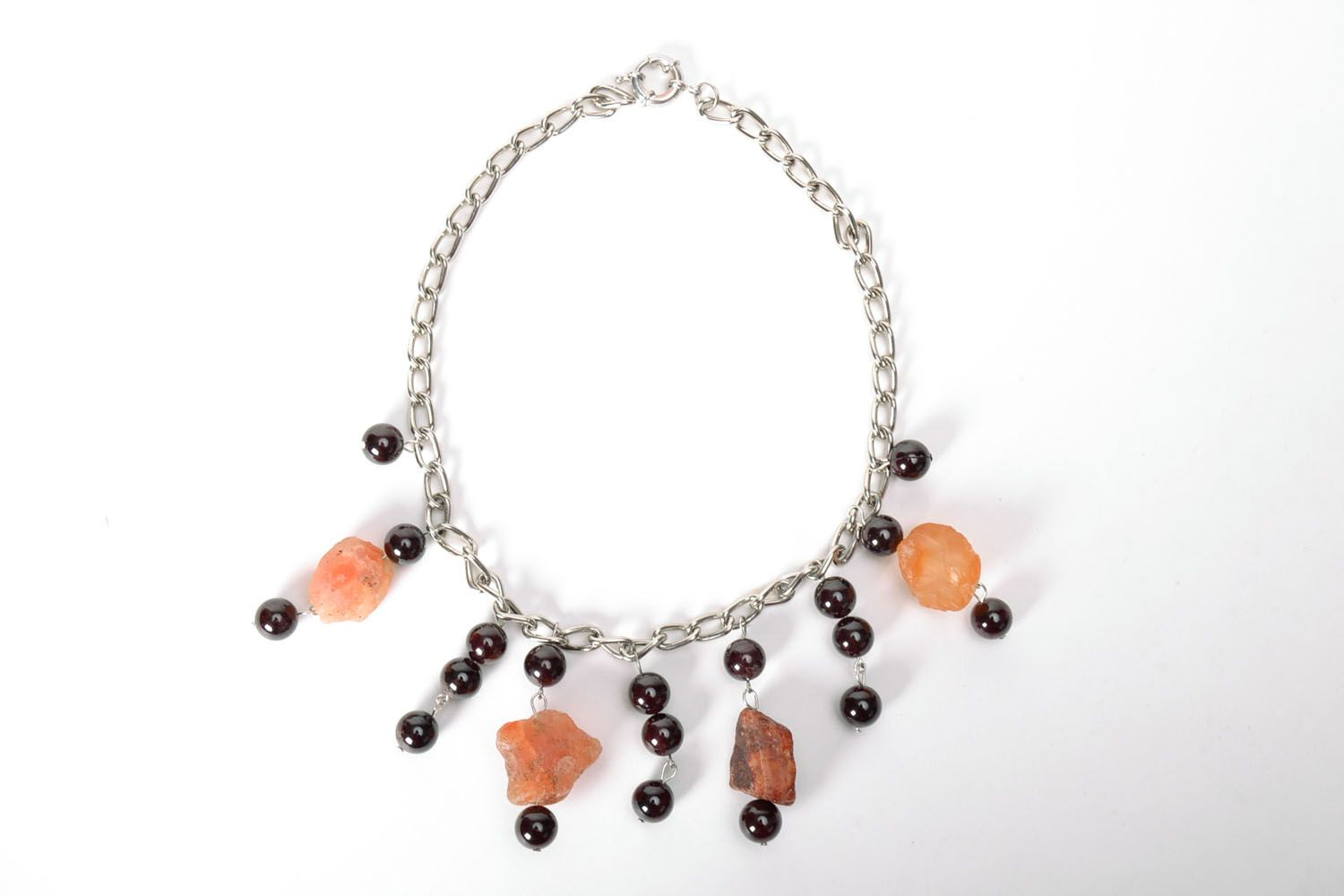 Fashionable necklace with natural stones photo 2