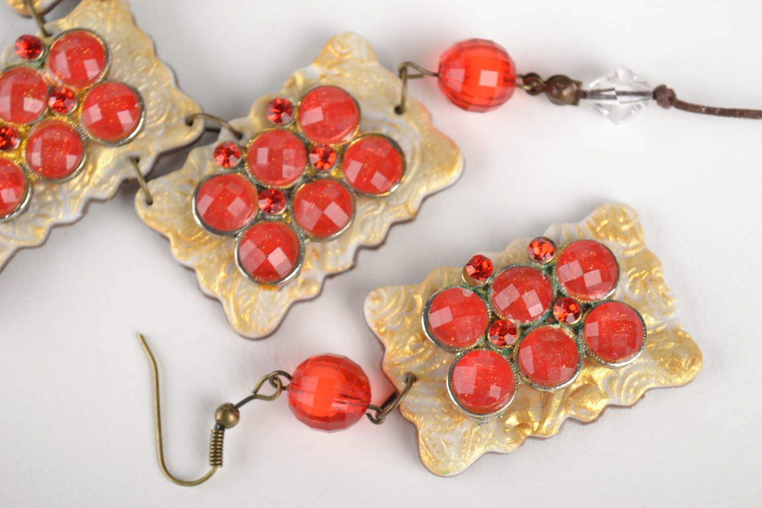 Polymer clay jewelry set handmade earrings pendant necklace fashion accessories photo 3