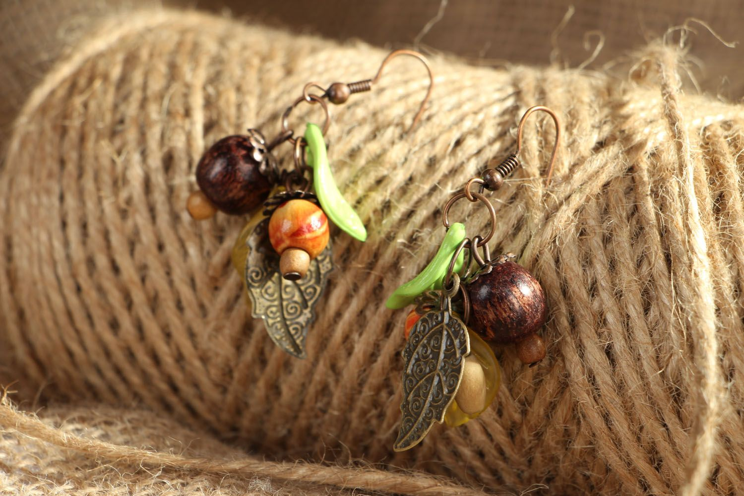 Earrings with wooden beads photo 4