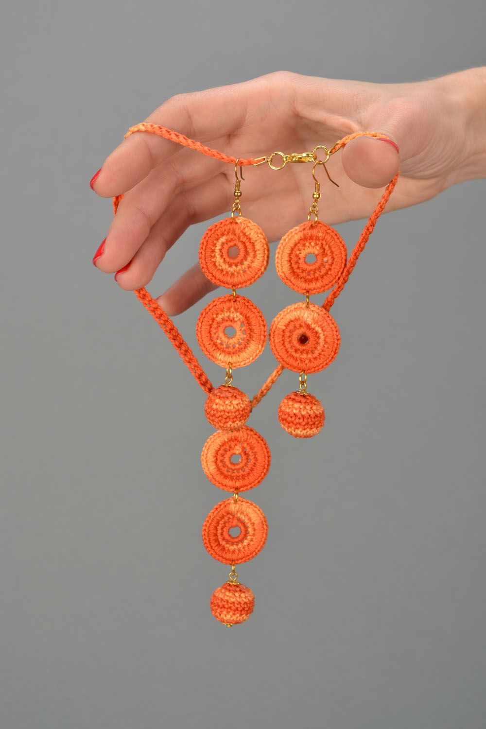 Crocheted handmade jewelry Orange photo 2