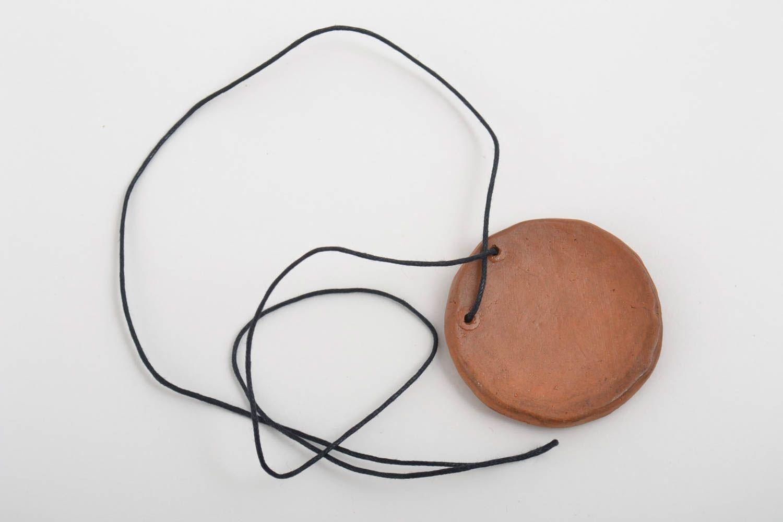 Кулон ручной работы круглый кулон керамическая подвеска коричневая стильная фото 3