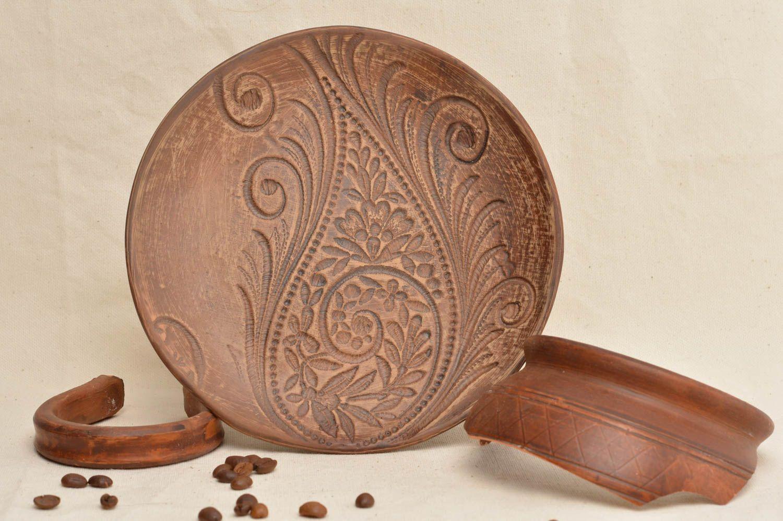 Madeheart plato plano de cer mica hecho a mano vajilla for Utensilios de cocina de ceramica