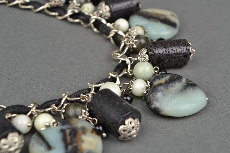 Колье с натуральными камнями и металлической цепочкой  фото 3