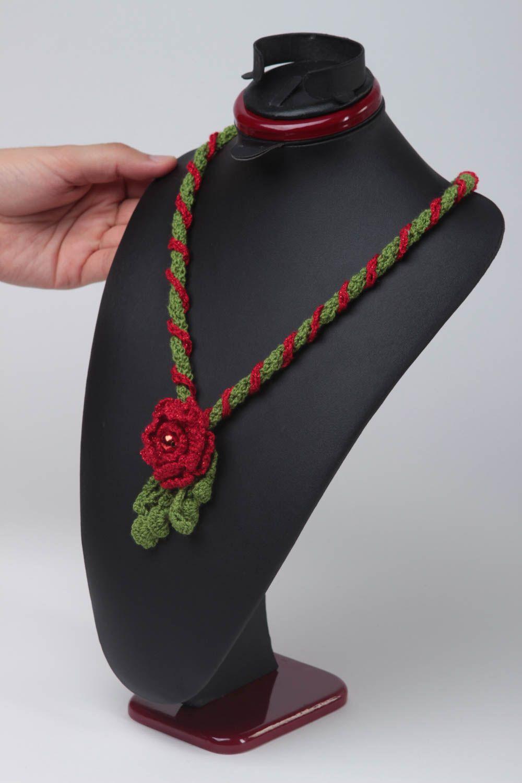 Unusual red pendant gift crocheted textile pendant stylish female jewelry photo 2