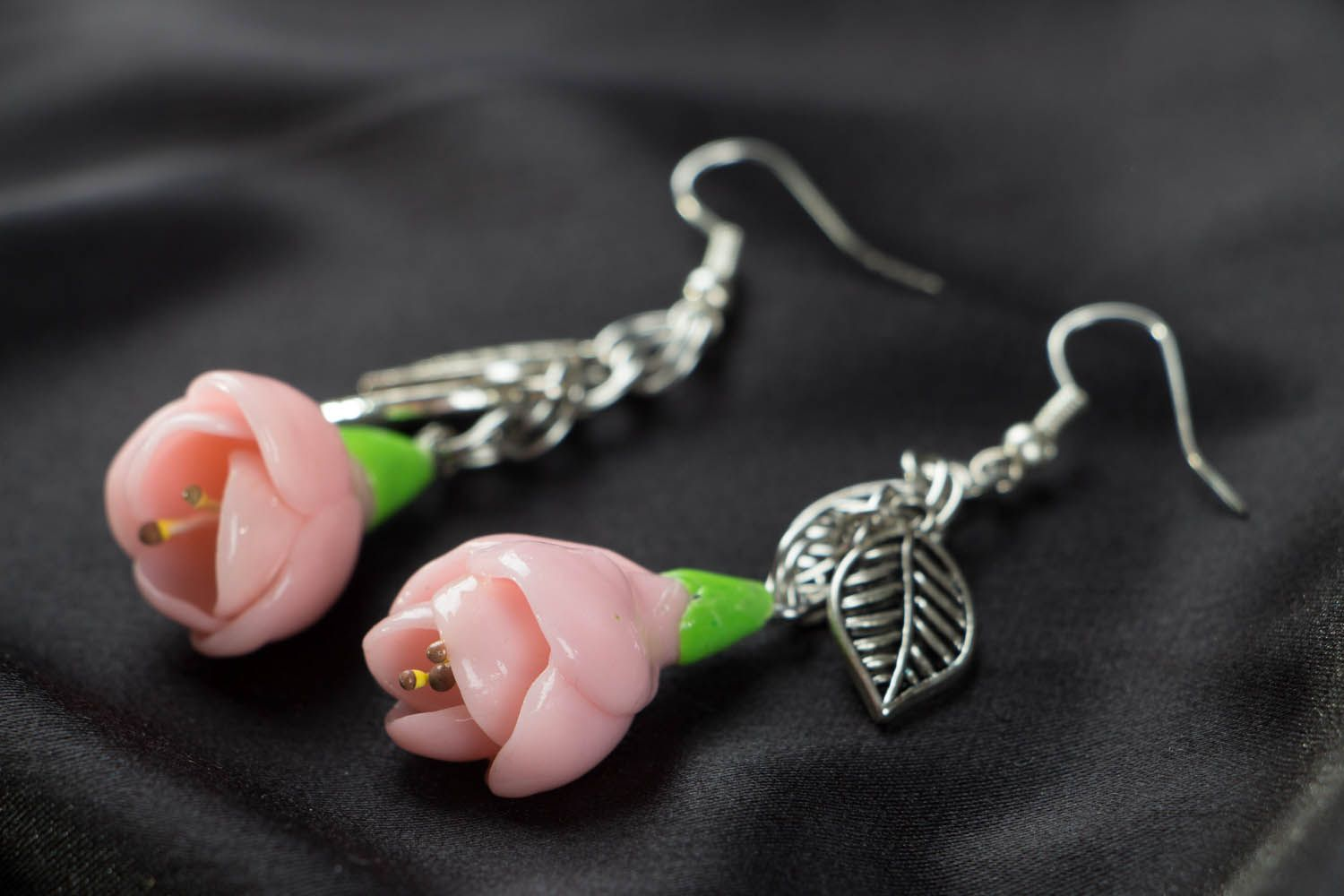 Polymer clay earrings Freesia Flowers photo 2