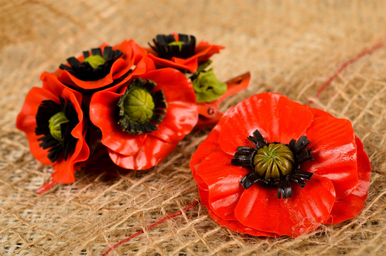 Украшения ручной работы набор аксессуаров заколка с цветком и женская брошь фото 1