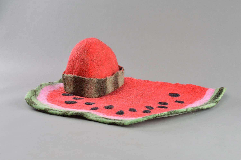 Beautiful handmade designer felted wool hat and mat rug for sauna  photo 1