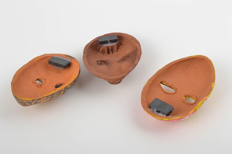 Set of 3 homemade designer ceramic fridge magnets carnival masks photo 3
