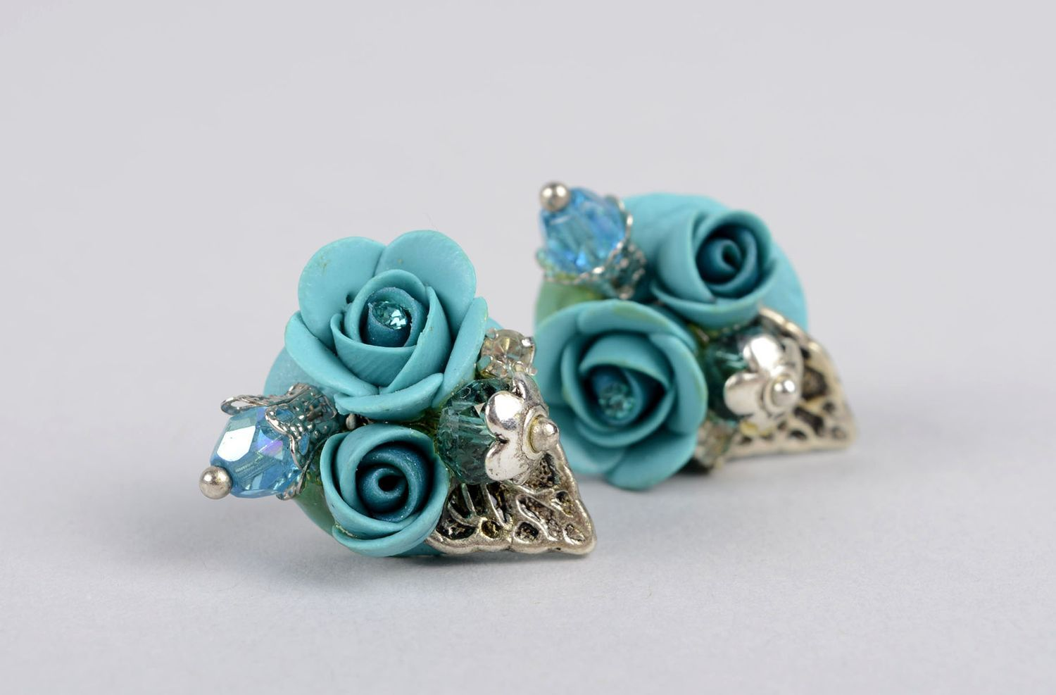 Handmade stud earrings polymer clay accessories plastic earrings with flowers photo 2