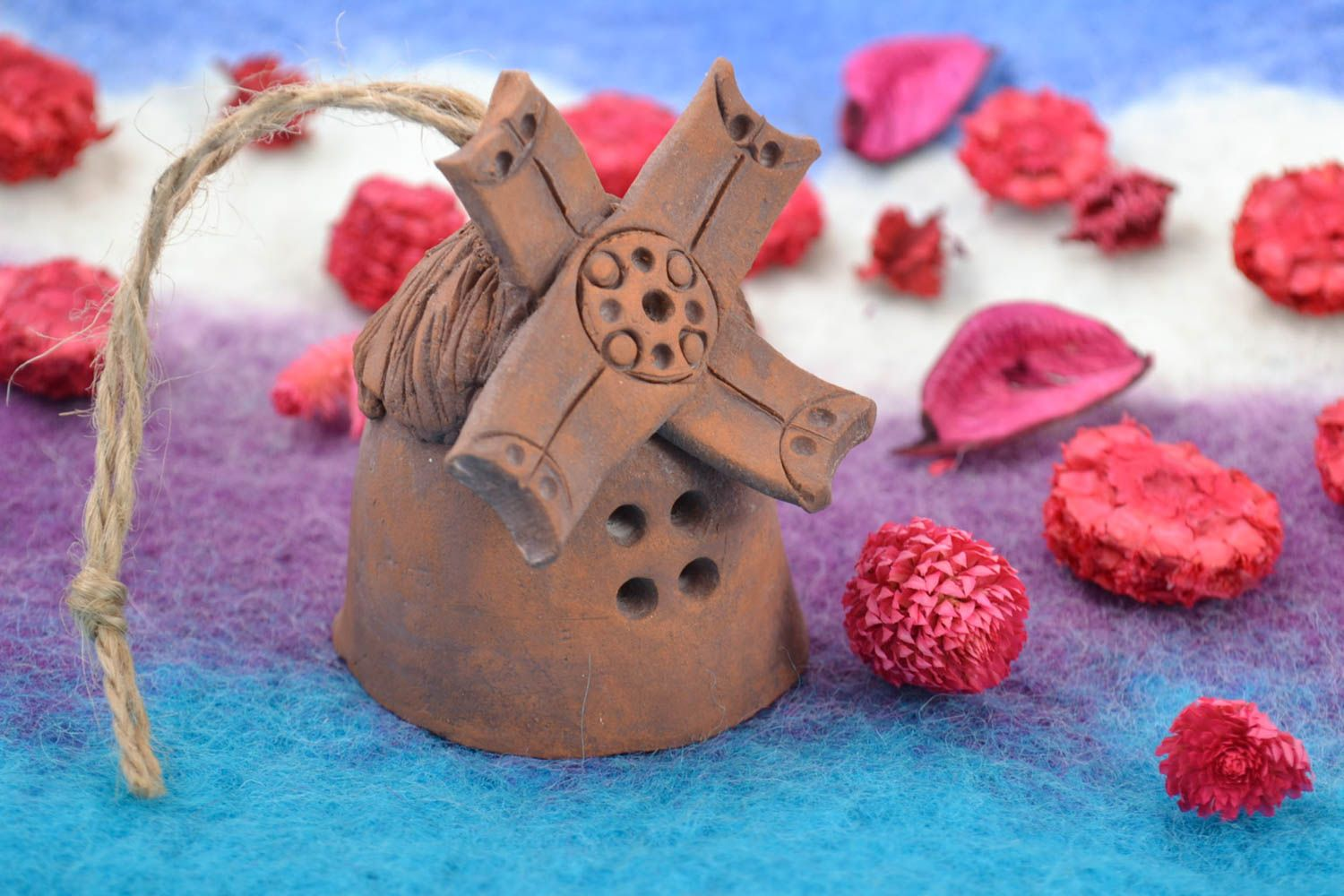 Handmade bell made of red clay brown unusual with eyelet photo 1