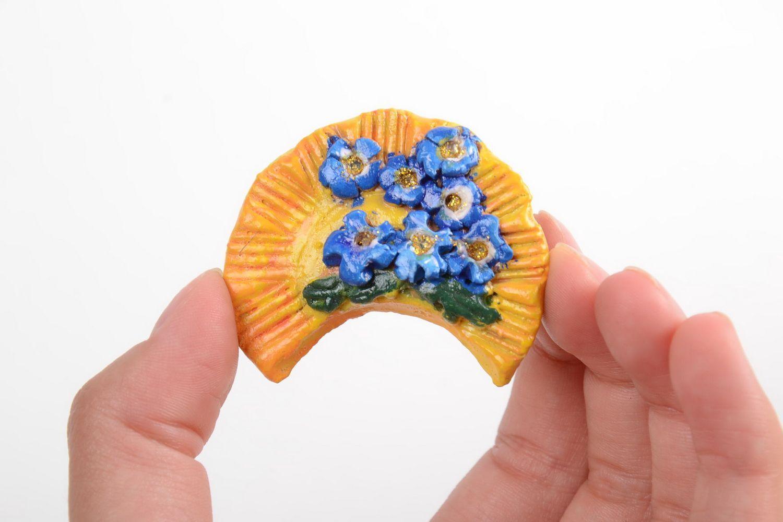 Handmade designer souvenir stylish ceramic fridge magnet cute interior decor photo 3