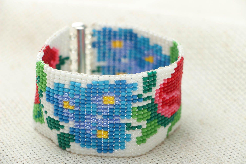 Breites Armband aus Glasperlen foto 1
