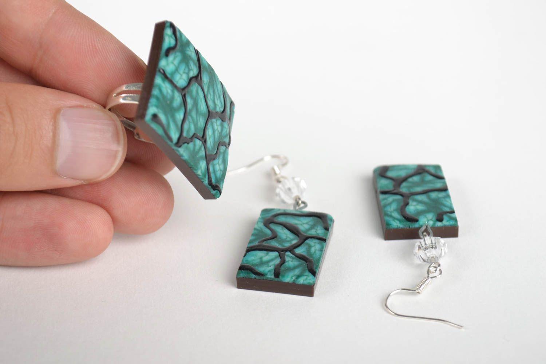Schmuck Set handmade Modeschmuck Ohrringe Ring Damen Mode Accessoires in Grün foto 5