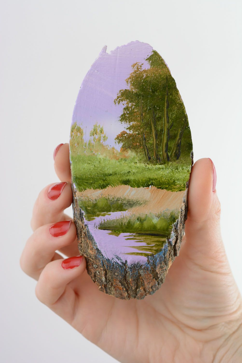 Homemade painted fridge magnet Lilac Evening photo 3