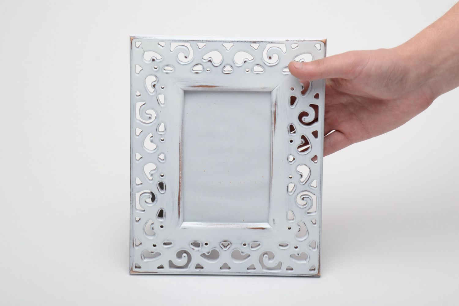 Light wooden photo frame with carving 10x15 photo 5