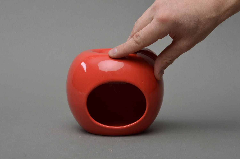 Unusual beautiful cute handmade red porcelain aroma lamp in shape of apple photo 4