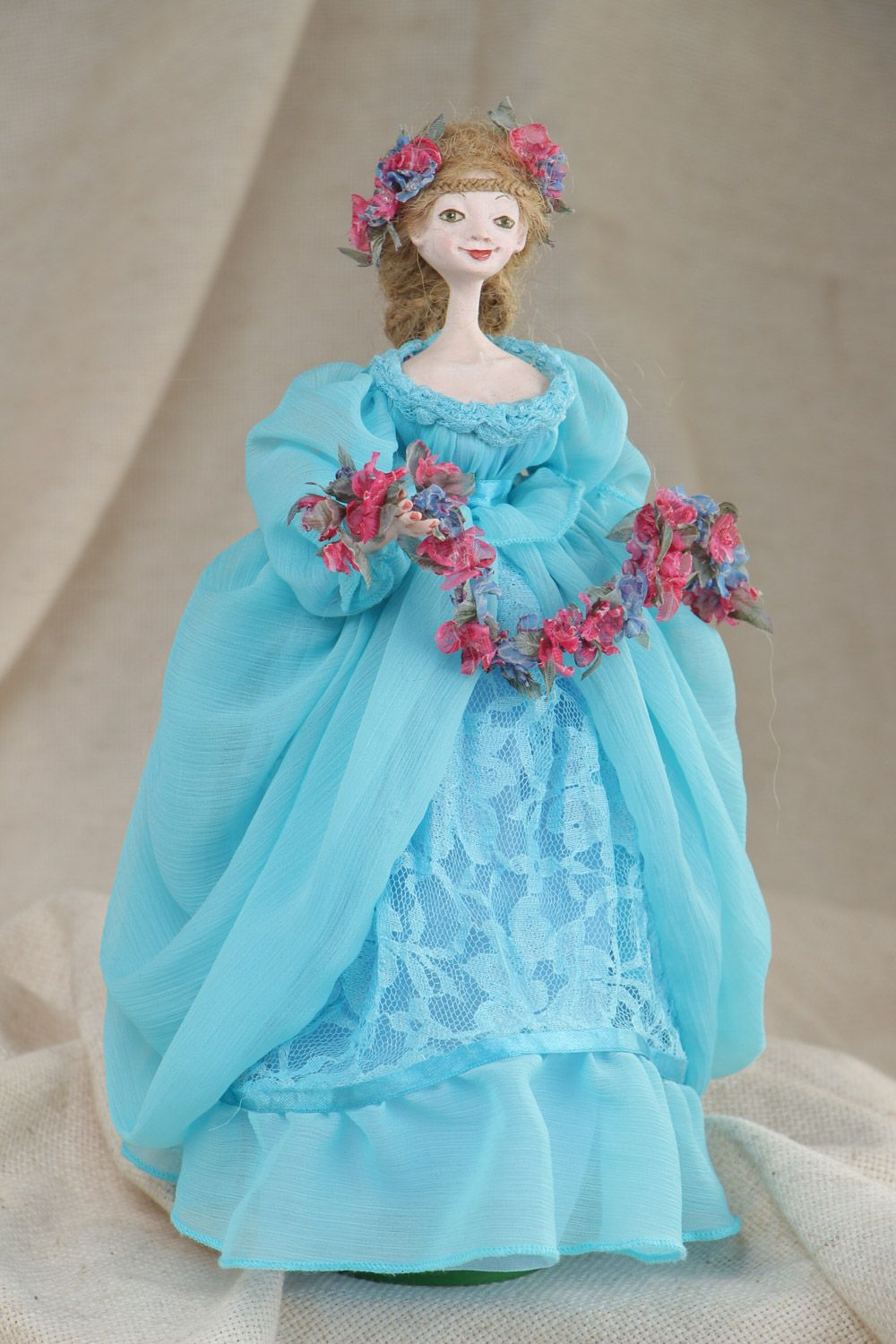 Handmade collectible paperclay interior doll in blue dress photo 1