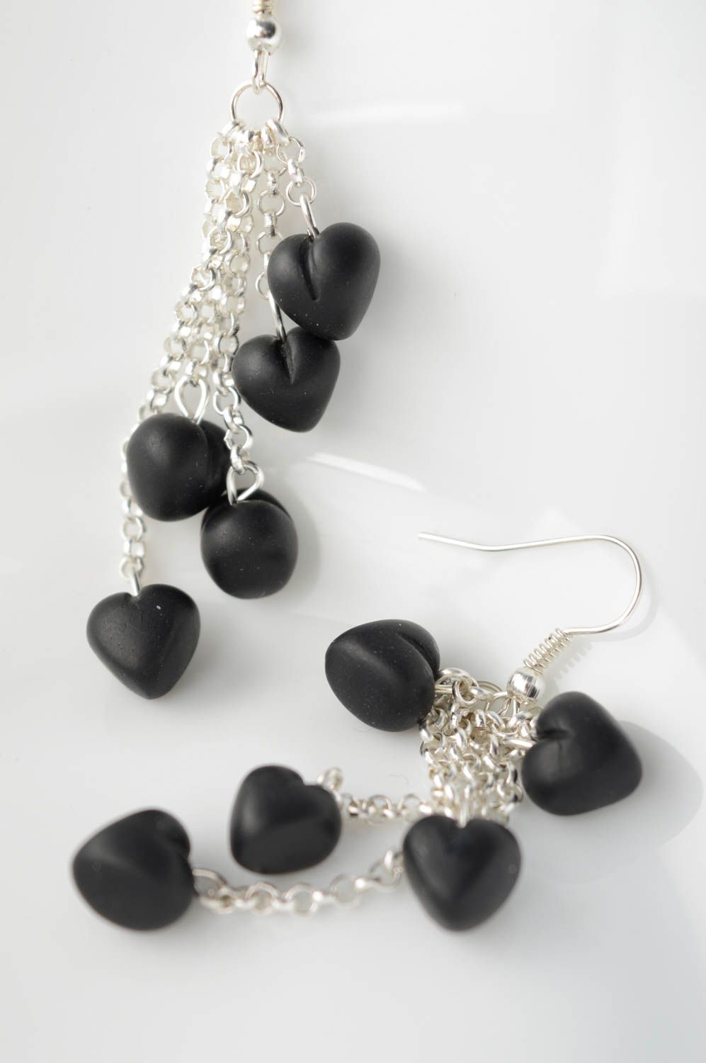 Polymer clay earrings with charms Black Heart photo 1